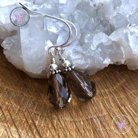 Smokey Quartz Faceted Teardrop Earrings